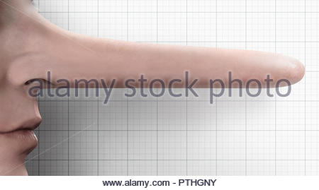 Liar with very long nose - Stock Photo