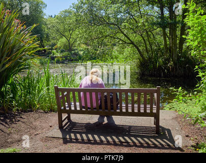 A Young Lady sitting on a bench at the waters edge of a small Pond in the St Andrews Botanic Gardens in Fife in Scotland. - Stock Photo