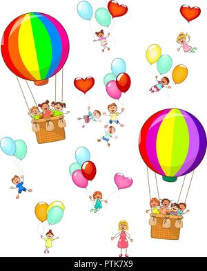Group of kids with balloons and teacher on white background, isolated. - Stock Photo