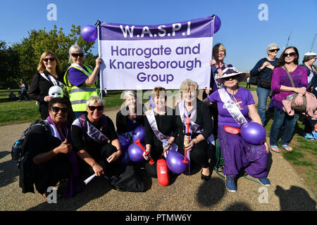 London, UK. 10th Oct 2018. Hundreds of pensioner rally The 1950s Women's State Pension Campaign, Back to 60, We Paid In, You Paid Out and other women's pension groups will join together 'Shoulder to Shoulder' as #OneVoice chanting Theresa May how many people you robs today demand their pension to be pay now not when we will dead at Reformer's Tree, Hyde Park, London, UK. 10 October 2018. Credit: Picture Capital/Alamy Live News - Stock Photo