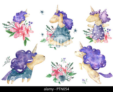 Dreamer Unicorn watercolor character and floral bouquets. Bonus Florals and ribbon. White Horse isolated on white background. Painting. Illustration. Template. Clip-Art. indigo color - Stock Photo