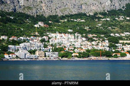 Omis city view near the mountain in Croatia. - Stock Photo