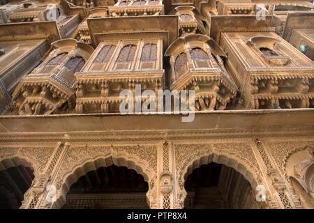 The image of Architecture of Patwaron ki Haveli in Jaisalmer, Rajasthan, India - Stock Photo