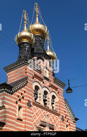 Alexander Nevsky Church in Copenhagen, Denmark. The only Russian Orthodox church in Copenhagen, it was built by the Russian Government between 1881 an - Stock Photo