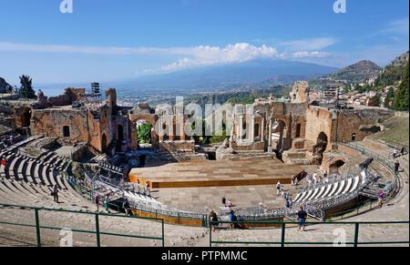 The ancient greek-roman theatre of Taormina, Sicily, Italy - Stock Photo