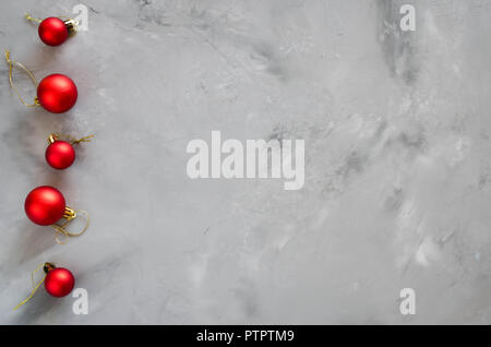 Christmas background with decorations. Christmas greeting postcard with xmas red balls. Copy space. - Stock Photo