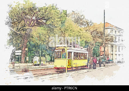 Sketch with watercolor or illustration of a traditional old yellow tram at a tram stop in Lisbon in Portugal. People go inside. - Stock Photo