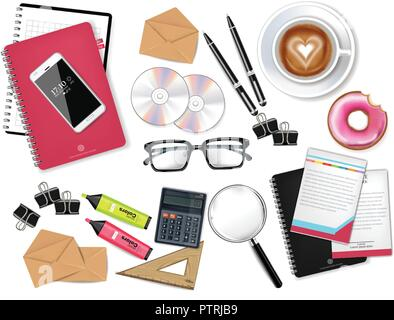 Business desk office set collection Vector realistic. Glasses, bag, gadgets and office supplies 3d detailed illustration - Stock Photo