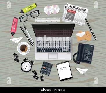 Laptop and office supplies business set collection Vector realistic. Glasses, bag, gadgets 3d detailed illustration - Stock Photo