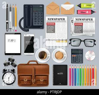 Great business office set collection Vector realistic. Glasses, bag, gadgets and office supplies 3d detailed illustration - Stock Photo