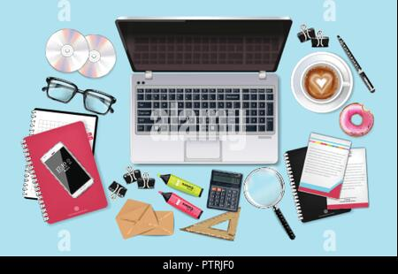 Business desk office set collection Vector realistic. Laptop, cofee, phone and office supplies 3d detailed illustration - Stock Photo