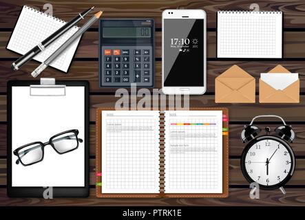 Notes, mail and office supplies business set collection Vector realistic. Phone gadget and calculator. Top view. 3d detailed illustration - Stock Photo