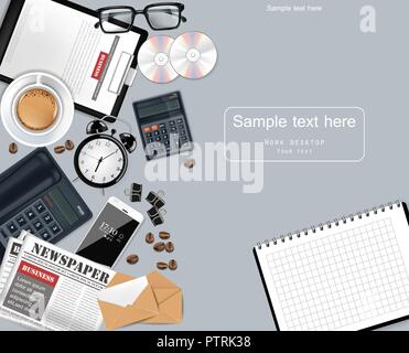Laptop and office supplies business set collection Vector realistic. Glasses, newspaper, gadgets and CDs 3d detailed illustration - Stock Photo