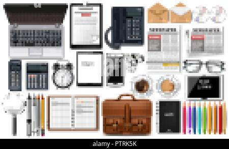 Laptop, gadget and office supplies business set collection Vector realistic. Glasses, newspaper, gadgets and CDs 3d detailed illustration isolated - Stock Photo