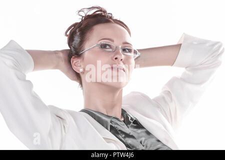 Frau, 20-30 Jahre, Arbeit, Ausstrahlung, Bluse, Business, Haare, Hochsteckfrisur, Portrait, Brille, bruenett, gutaussehend, hochgesteckt, selbstbewuss - Stock Photo