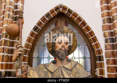 Astorga, Spain: 17th century statue of Saint James as a Jacobean pilgrim (Santiago Peregrino) at El Museo de los Caminos in the Episcopal Palace of As - Stock Photo
