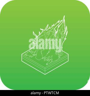 Forest fire icon green vector - Stock Photo
