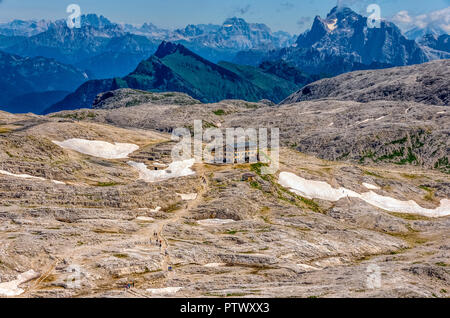Italy Trentino   The Rosetta refuge, built by the SAT at 2581 m on the western edge of the pale plateau just above the town of San Martino di castrozza, is certainly one of the most suggestive areas of the Pale. - Stock Photo