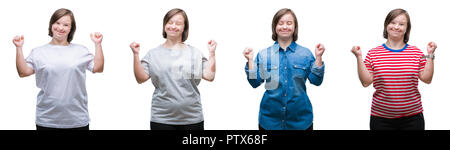 Collage of down sydrome woman over isolated background excited for success with arms raised celebrating victory smiling. Winner concept. - Stock Photo
