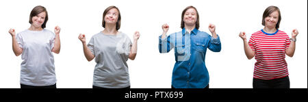 Collage of down sydrome woman over isolated background celebrating surprised and amazed for success with arms raised and open eyes. Winner concept. - Stock Photo