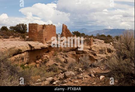 The ruins at Hovenweep National Monument, Utah, USA - Stock Photo