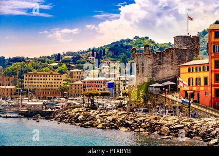 italian riviera landscape Santa Margherita Ligure castle italy - Stock Photo