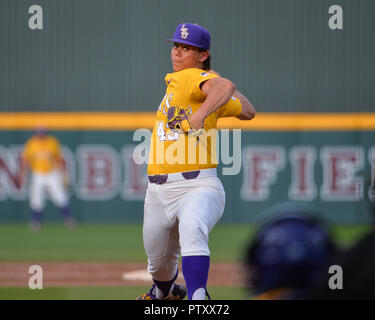 Mississippi, USA.  30th Mar, 2019. LSU pitcher, Todd Peterson (43), in action during the NCAA baseball game between the LSU Tigers and the Mississippi State Bulldogs at Dudy Noble Field in Starkville, MS. LSU defeated Mississippi State, 11-2. Kevin Langley/Sports South Media/CSM/Alamy Live News - Stock Photo