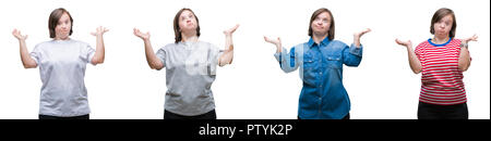 Collage of down sydrome woman over isolated background clueless and confused expression with arms and hands raised. Doubt concept. - Stock Photo