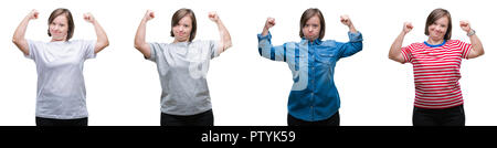 Collage of down sydrome woman over isolated background showing arms muscles smiling proud. Fitness concept. - Stock Photo