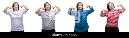 Collage of down sydrome woman over isolated background smiling confident showing and pointing with fingers teeth and mouth. Health concept. - Stock Photo