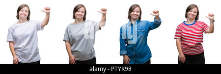 Collage of down sydrome woman over isolated background showing and pointing up with finger number one while smiling confident and happy. - Stock Photo