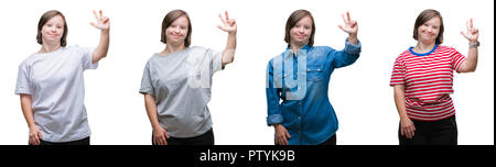 Collage of down sydrome woman over isolated background showing and pointing up with fingers number three while smiling confident and happy. - Stock Photo