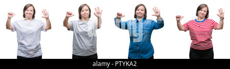 Collage of down sydrome woman over isolated background showing and pointing up with fingers number six while smiling confident and happy. - Stock Photo
