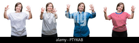 Collage of down sydrome woman over isolated background showing and pointing up with fingers number eight while smiling confident and happy. - Stock Photo