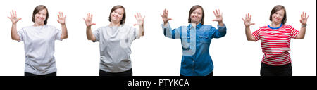 Collage of down sydrome woman over isolated background showing and pointing up with fingers number ten while smiling confident and happy. - Stock Photo