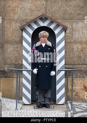 Sentry guard of the armed forces of the Czech Republic at the Prague Castle - Pražský hrad Prague, Czech Republic. - Stock Photo