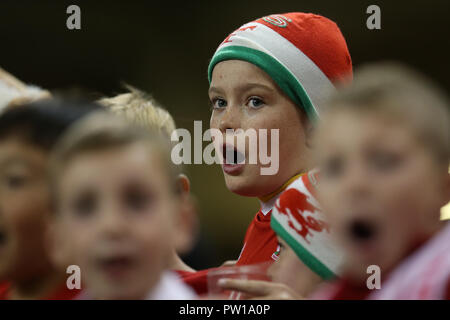 Cardiff, UK. 11th Oct 2018. young Wales fans. Football friendly international match, Wales v Spain at the Principality Stadium in Cardiff , South Wales on Thursday 11th October 2018. picture by Andrew Orchard/Alamy Live News - Stock Photo