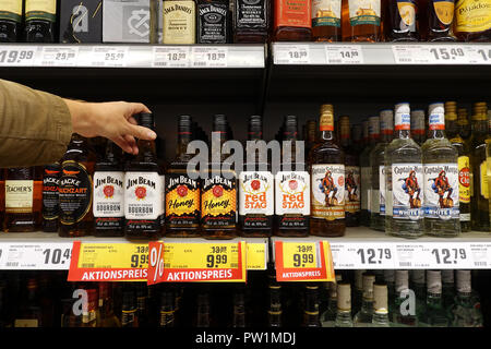 Jim Beam in a REWE supermarket - Stock Photo