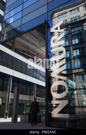 The exterior of the London corporate headquarters of Nomura at   on 10th October 2018, in London, England. The Japanese financial services company, Nomura Group's UK HQ is London's first carbon neutral building. Located on the north bank of the Thames on the corner of One Angel Lane and Upper Thames Street. - Stock Photo