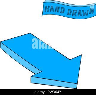 Arrow. Blue Down sign. Hand drawn sketch - Stock Photo