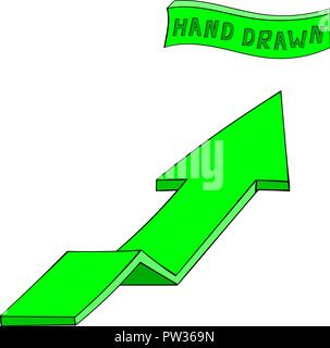 Green arrow. UP sign. Hand drawn sketch - Stock Photo