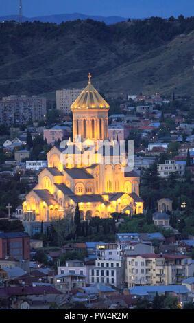 Georgia, Tbilisi, skyline, Holy Trinity Cathedral, aerial view, - Stock Photo