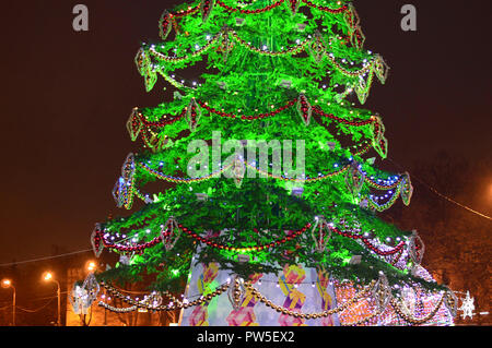 Fragment of jewelry on the New Year tree in Nizhny Novgorod. Russia - Stock Photo