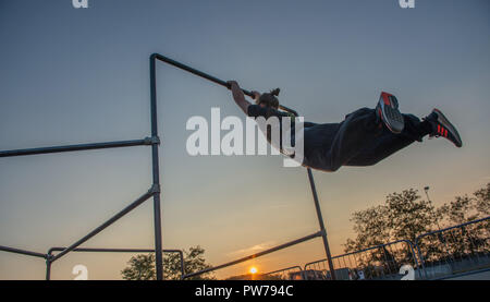 Bergamo Italy October 12th 2018:Parkour 'physical activity in running, climbing and jumping to overcome an obstacle - Stock Photo