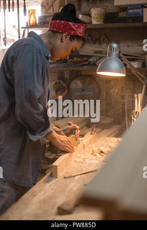 Woman is engaged in the processing of wood in the workshop. Handmade concept. Lifestyle of craftsmen - Stock Photo