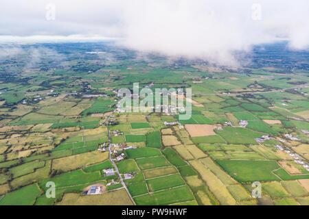 An aerial view of the Cloughanover countyside near Headford in County Galway, Ireland. - Stock Photo