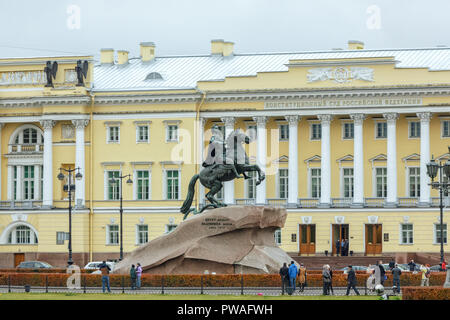 SAINT PETERSBURG, RUSSIA - OCTOBER 24, 2015: Monument of Russian emperor Peter the Great, known as The Bronze Horseman - Stock Photo