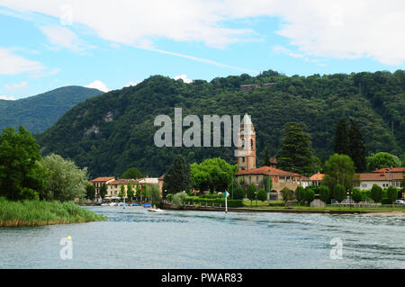 South Switzerland: Cruise from Lugano city to Ponte Tresa - Stock Photo