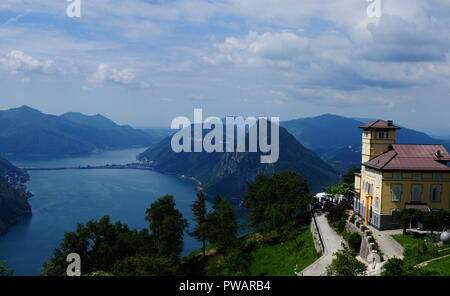 South Switzerland: Panoramic view from Mount Bré to Lake Lugano - Stock Photo
