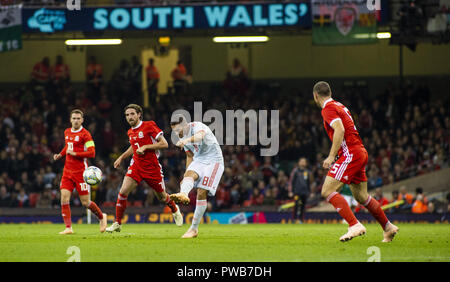 Cardiff, UK. 11th Oct, 2018. Koke (Spain) seen in action during the Wales v Spain friendly match at the 'National Stadium.Final score Wales 1-4 Spain Credit: Gary Mitchell/SOPA Images/ZUMA Wire/Alamy Live News - Stock Photo